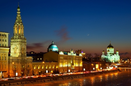 View of Moscow  in winter night. Russia