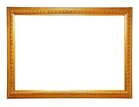 Classic gold frame. Isolated over white background  photo