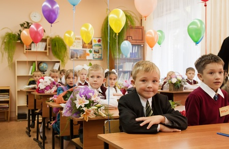 VLADIMIR, RUSSIA - SEPTEMBER 1: Day of Knowledge. First day in school. September 1, 2011 in Vladimir, Russia. Schoolchildren in their first lesson in school � 36, now school has 1738 pupils