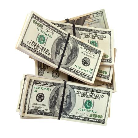 Many bundles of US dollars bank notes. Isolated on white background Stock Photo - 12435042