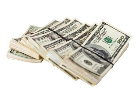Many bundles of US dollars bank notes. Isolated on white background Stock Photo - 12435010