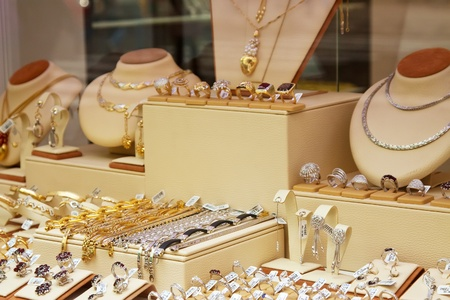 14k: counter with variety jewelry in store window