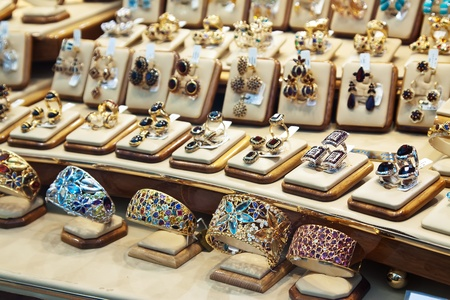 counter with variety jewelry in store window Stock Photo - 12616631