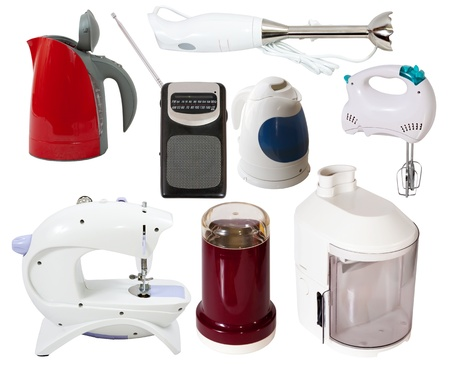 electric tea kettle: Set of  household appliances. Isolated on white background with clipping path Stock Photo