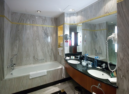 water closet: Interior of bathroom with marble  wall