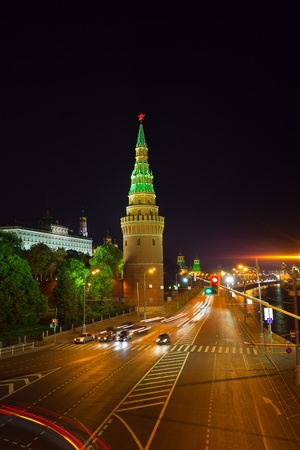 Moscow Kremlin towers in night. Moscow, Russia