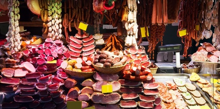 meat counter: Meat on shopwindow at the european  market