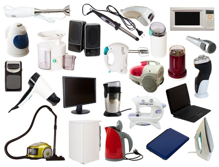 Set of  household appliances. Isolated on white background with clipping path photo