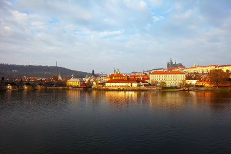 Morning view of Prague from Vltava. Czech Republic  Stock Photo - 12591510