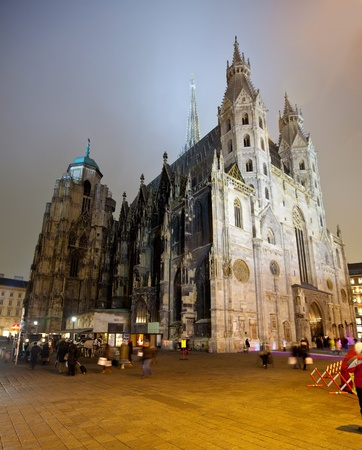 St. Stephens Cathedral in night.  Vienna, Austria