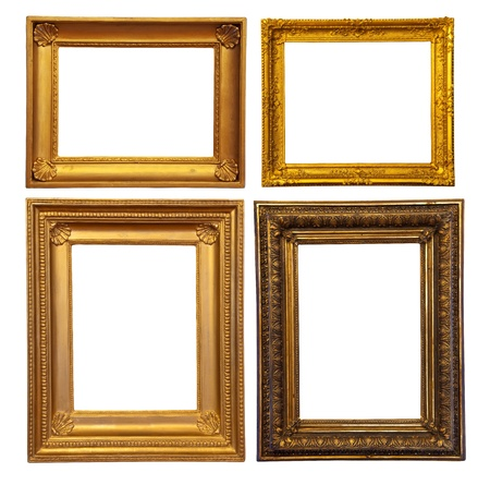 Set of few old bronze frames. Isolated over white background with clipping path