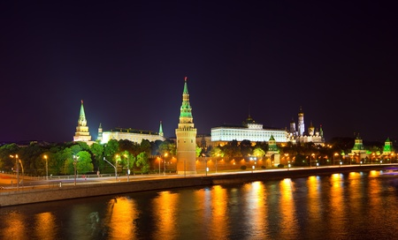 Kind to the Moscow Kremlin  and   Moskva River in night. Russia Stock Photo - 12591477