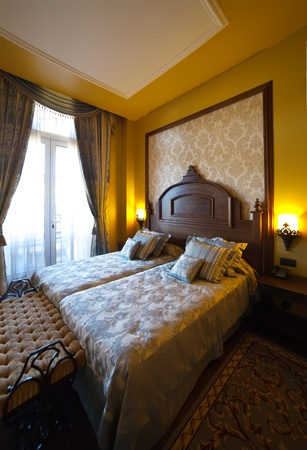 interior of  bedroom of luxury hotel suite