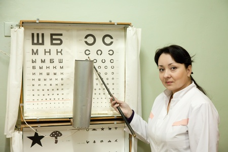 ophthalmologist testing  eyesight with letter table Stock Photo - 12601549