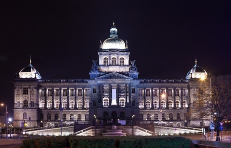 czechia: National Museum at Wenceslas Square in night. Prague, Czechia
