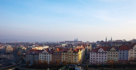 czechia: view of historucal residential district in Prague, Czechia Stock Photo
