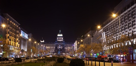 Upper part of Wenceslas Square at night. Prague, Czechia