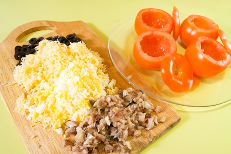farcie: Stuff for stuffed tomato salad. See in series stages of cooking of stuffed tomato salad