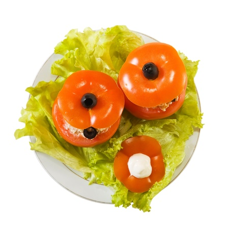 farci: stuffed tomato salad. See in series stages of cooking of farci tomato