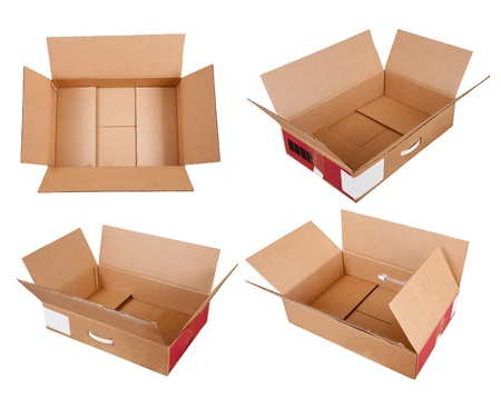 Set of  cardboard box. Isolated over white background with clipping path photo