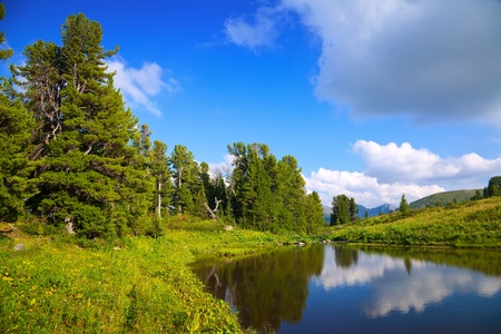horizontal landscape with mountains lake.   Altai, Suberia photo