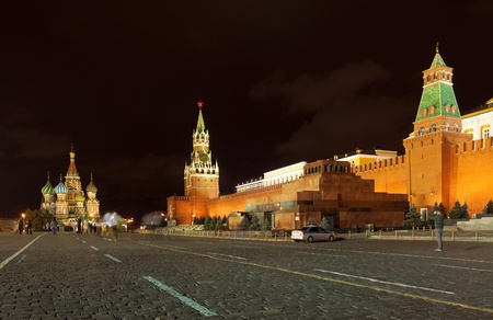 Kind to the  Red Square in night. Moscow, Russia