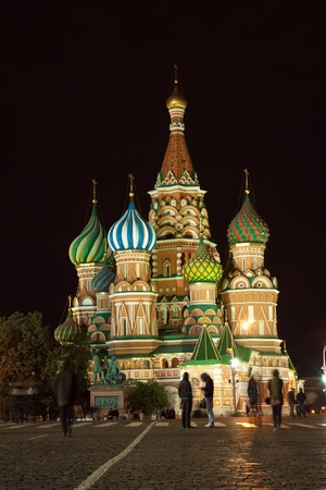 intercession: Intercession Cathedral at Red Square in night. Moscow, Russia Editorial