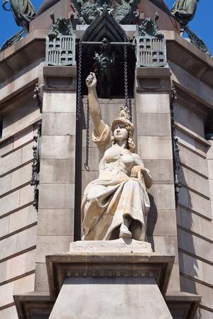 columb: Detail of  Columbus monument in Barcelona  Spain Stock Photo