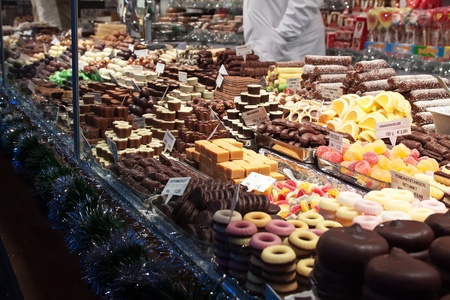 cooky: assortment of sweets on counter in market