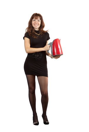 Girl with electric tea kettle over white photo