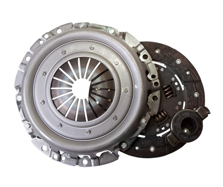 clutch: auto parts - automotive engine clutch. Isolated on white with clipping path Stock Photo
