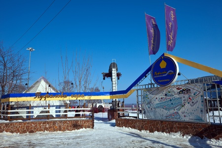 piste: GOROKHOVETS, RUSSIA - MARCH 25:  Entrance to ski resort Puzhalova Gora on March 25, 2012 in Gorokhovets, Russia.The resort has 16 trails of varying difficulty, with a total length of more than 4000 m, maximum length of 550 m