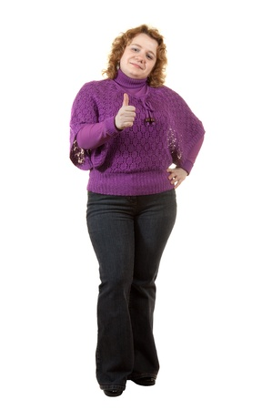 chubby girl: Overweight woman. Isolated over white background Stock Photo