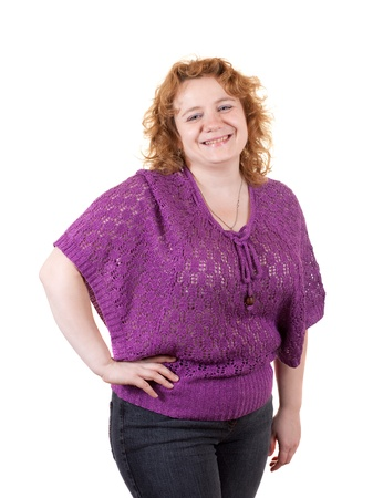 unbeautiful: Overweight woman. Isolated over white background Stock Photo