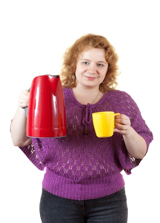 unbeautiful: Overweight woman with kettle and cup. Isolated over white background