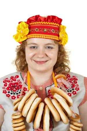 Studioaufnahme Der Frau In Russischer Folklore Kleidung Isolierte