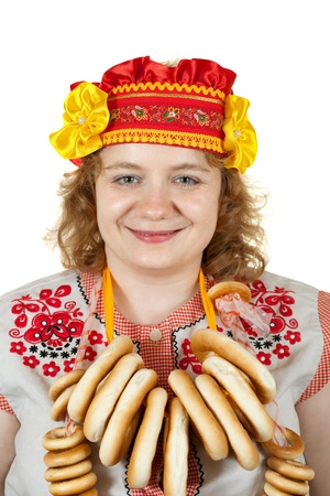 sudarium: Studio shot of woman in Russian folk clothes. Isolated over white background