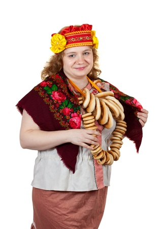 sudarium: Studio shot of woman in Russian traditional clothes. Isolated over white background