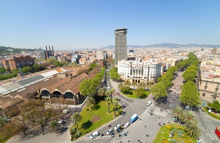 Top view of La Rambla. Barcelona, Spain photo