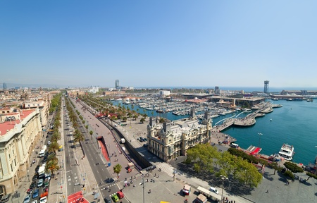 Wide angle shot of Barcelona port. Spain photo