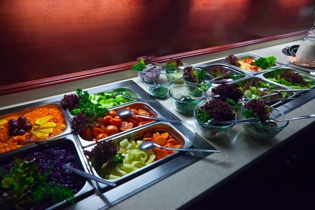 buffet lunch: vegetables in trays  at buffet  Stock Photo