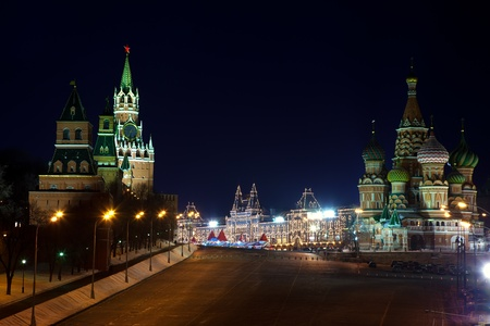 intercession:  Intercession Cathedral  and   Spasskaya Tower of Moscow Kremlin at Red Square in night.