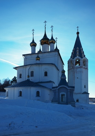 Trinity Cathedral (build in 1681-1689)  in  St. Nicholas monastery at Gorokhovets in winter. Russia
