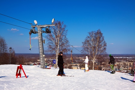 GOROKHOVETS, RUSSIA - MARCH 25:  The ski resort Puzhalova Gora on March 25, 2012 in Gorokhovets, Russia.The resort has 16 trails of varying difficulty, with a total length of more than 4000 m, maximum length of 550 m