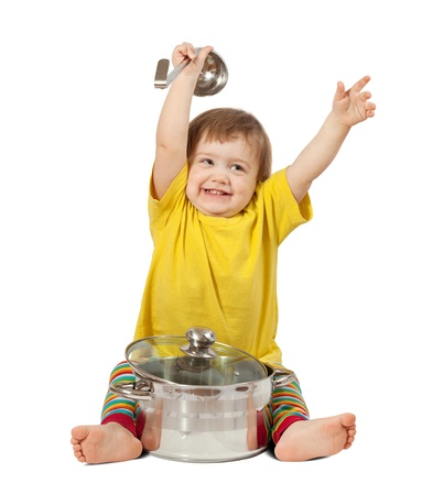 Baby cook with pan. Isolated over white background with shade Stock Photo