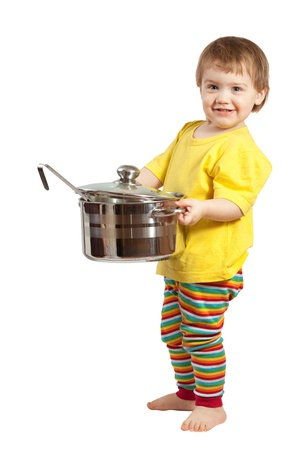 Baby cook with  pan. Isolated over white background photo