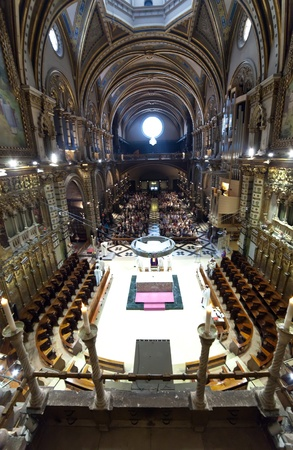 Interior of  Santa Maria de Montserrat. Catalonia. Spain Stock Photo - 13072730