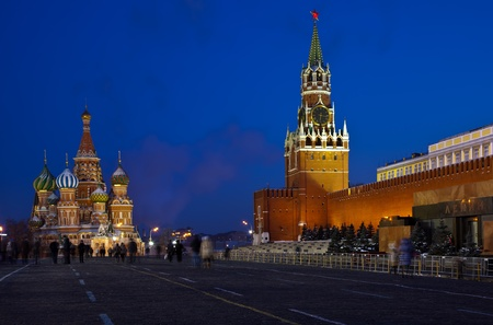 intercession:  Intercession Cathedral  and   Spasskaya Tower of Moscow Kremlin at Red Square in night. Moscow. Russia Stock Photo