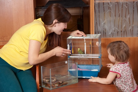 Family with  pets in home photo