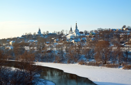 klyazma: View of Vladimir downtown from river side in winter, Russia Editorial